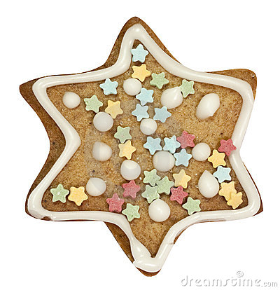 Gingerbread star with clipping path
