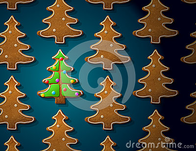 Gingerbreads in shape of christmas tree with icing