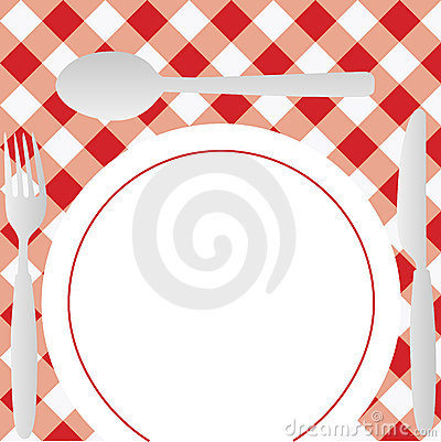Gingham Menu Card