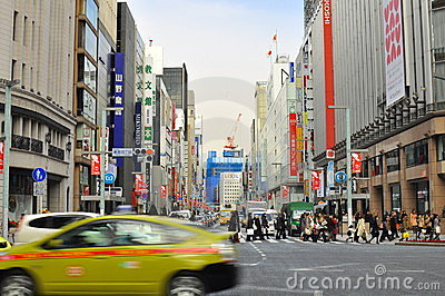 Ginza shopping district, Tokyo japan Editorial Photo