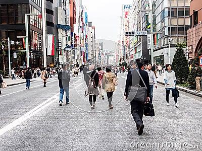 Ginza walking street, Tokyo, Japan 1 Editorial Photography