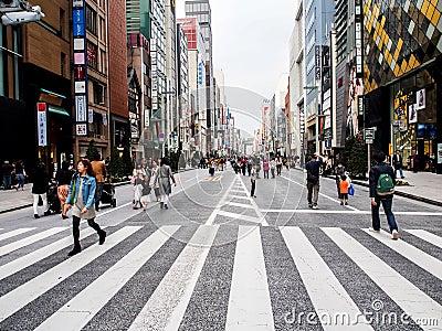 Ginza walking street, Tokyo, Japan 2 Editorial Stock Image