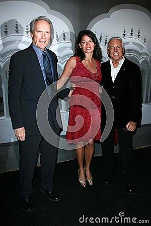 Giorgio Armani,Clint Eastwood,Dina Eastwood Editorial Stock Image