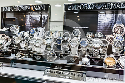Giorgio Armani Watches In Shop Window