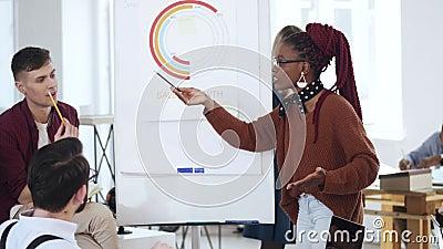 Giovane donna africana professionale felice di affari che presenta un esposto, spiegante il diagramma di finanza ai colleghi all' video d archivio