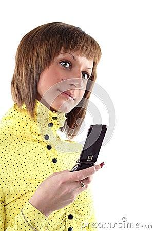 Giovane donna di affari chiamare