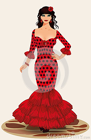 Giovane ragazza di flamenco di eleganza