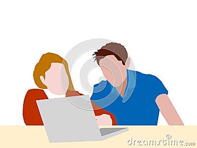 Giovani coppie che studiano insieme