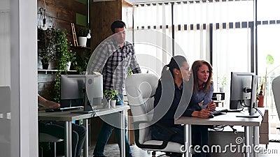 Giovani team che lavorano duramente nel loro ufficio per la loro azienda archivi video