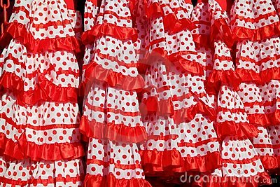 Gipsy dress red spots pattern texture andalusian