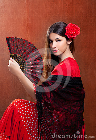 Free Gipsy Flamenco Dancer Spain Girl With Red Rose Royalty Free Stock Photos - 24315008