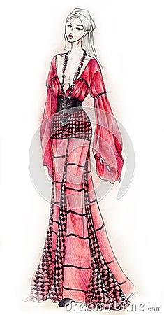 gipsy style fashion illustration stock photography image