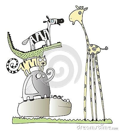 Giraf en vrienden