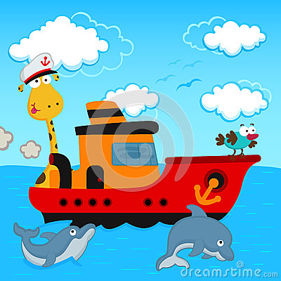 Free Giraffe And Bird In A Ship Royalty Free Stock Photography - 29922547