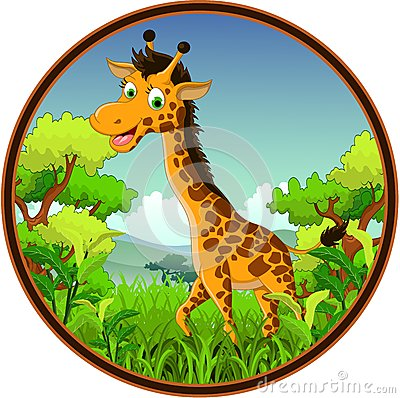 Giraffe cartoon on forest
