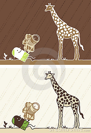 Giraffe colored cartoon