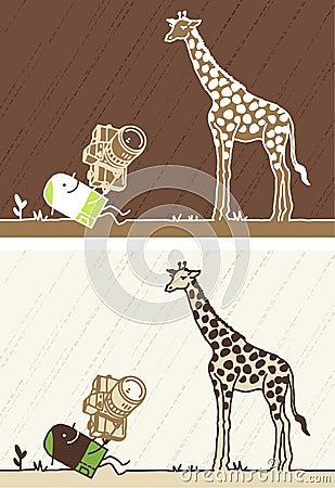 Giraffe colored cartoon