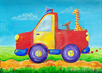 Giraffe and dog riding on a red pick-up truck