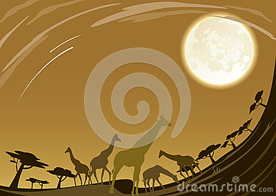 Giraffe family in africa under beautiful moon nigh