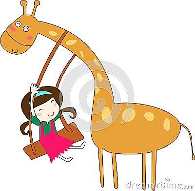 Giraffe and girl