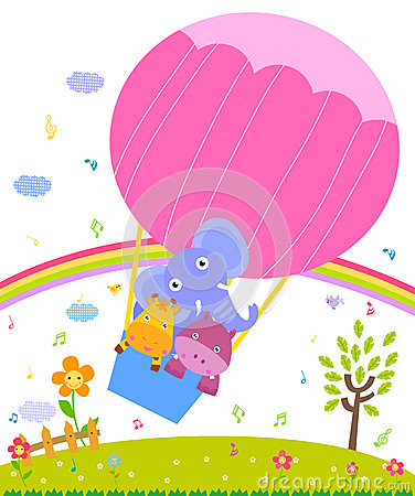 Giraffe,hippo and elephant in colorful hot air balloon