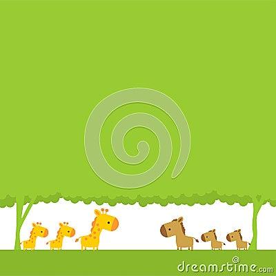 Giraffe and horse
