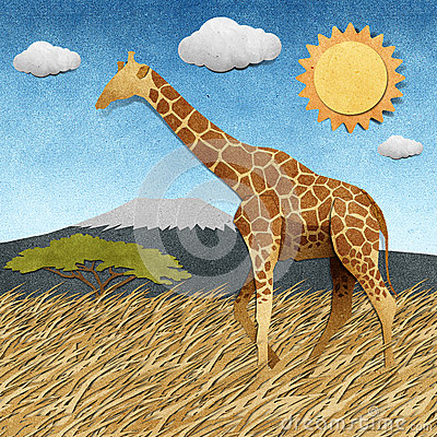 Free Giraffe  In Safari Field Recycled Paper Background Stock Photography - 26142352