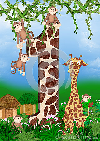 Giraffe with monkeys