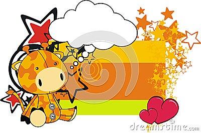 Giraffe plush cartoon card
