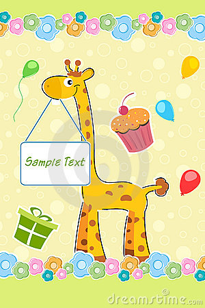 Giraffe with sample text board on birthday backgro