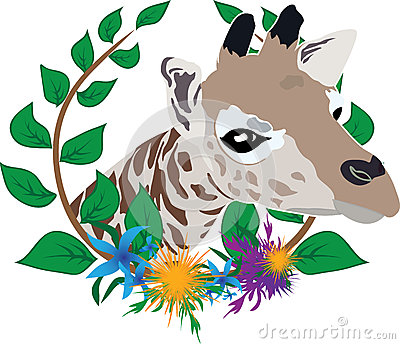 Giraffe in wreath