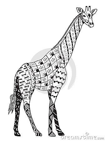 Giraffe Zentangle Stylized Vector