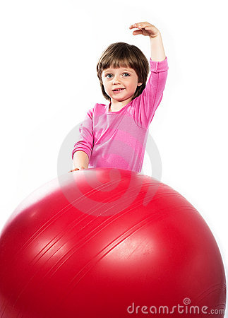 girl 3 years old with big ball