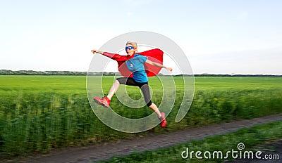 Girl acting like a super hero