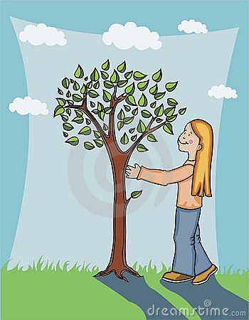 Girl admiring tree.
