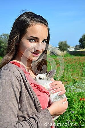 Girl with adorable bunny