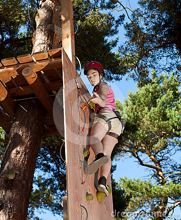 Girl in adventure park