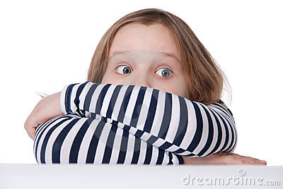 The girl is afraid