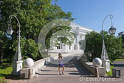 Girl against Yelagin palace