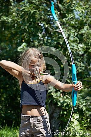 Girl aim with bow