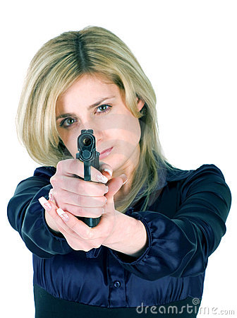 Free Girl Aiming A Gun Stock Photos - 8580233