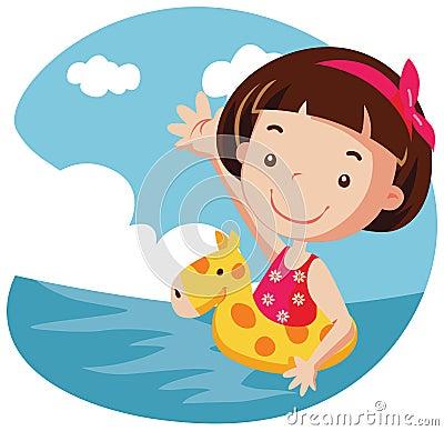 Girl in air buoy