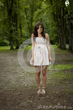 Girl alone in the wood