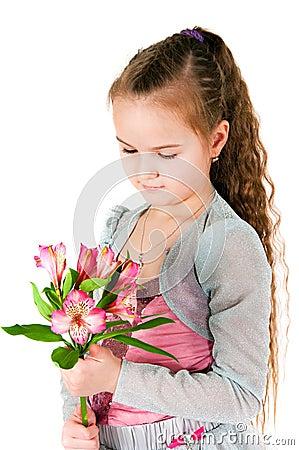 Girl  with an alstromeriya