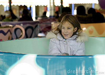 Girl in amusement park