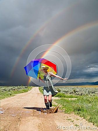 Free Girl And A Rainbow Stock Photos - 9895303