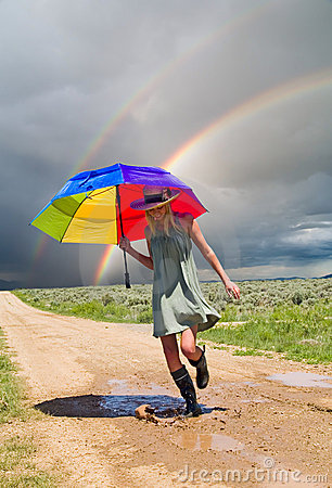 Free Girl And A Rainbow Royalty Free Stock Photos - 9895758