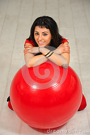 Free Girl And Red Ball Stock Photo - 52517110