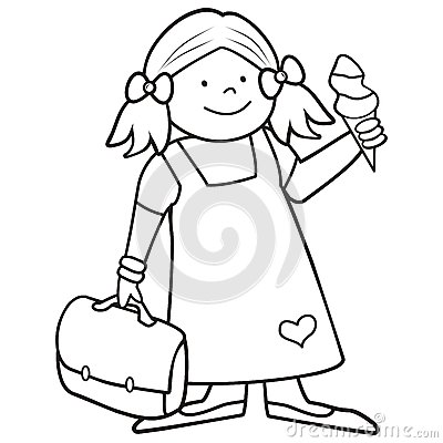 Free Girl And Schoobag, Coloring Book Royalty Free Stock Images - 69673269