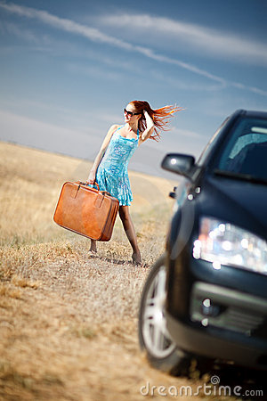 Free Girl And Suitcase Stock Photo - 8113540